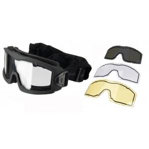 Gafas negras de la serie AERO Thermal con 3 pantallas Lancer Tactical