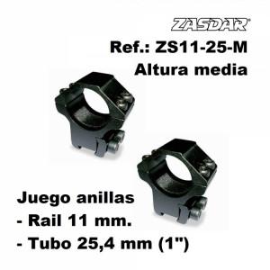 Monturas Zasdar Altura Media Ø25 mm / rail 9 - 11 mm
